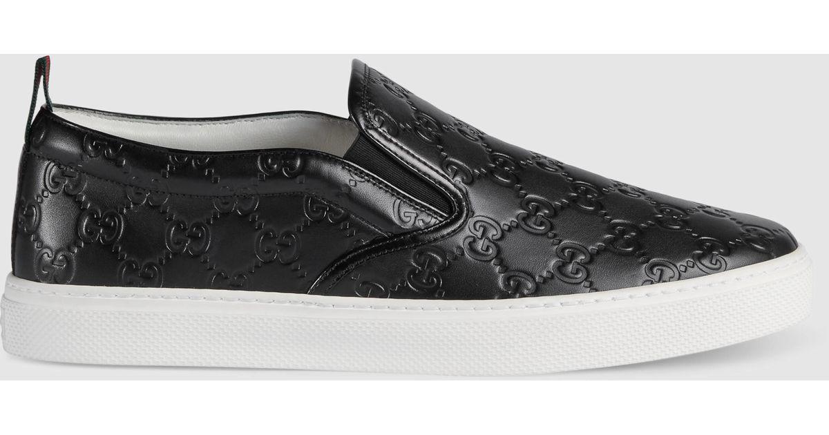 Gucci Signature Slip-on Sneaker in Black for Men | Lyst