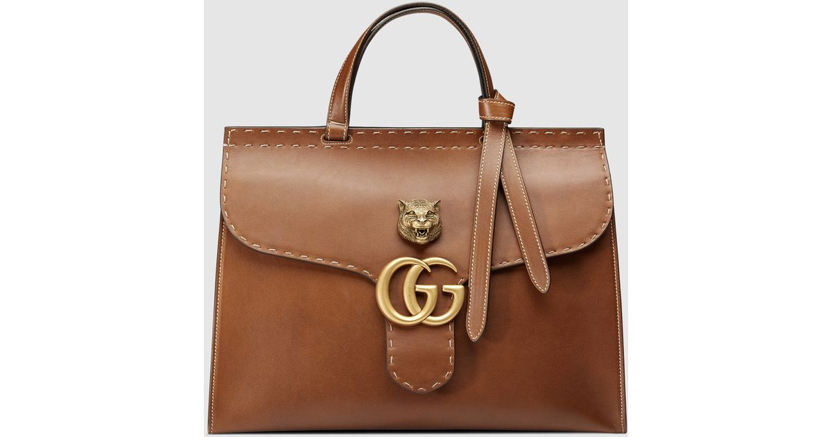 Gucci Brown Gg Marmont Leather Top Handle Bag