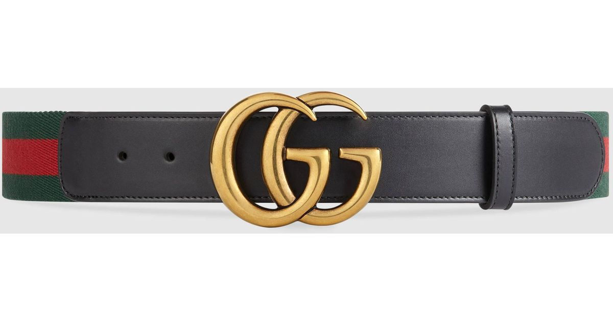 e6bd10bc3b8 Lyst - Gucci Web Belt With Double G Buckle in Green