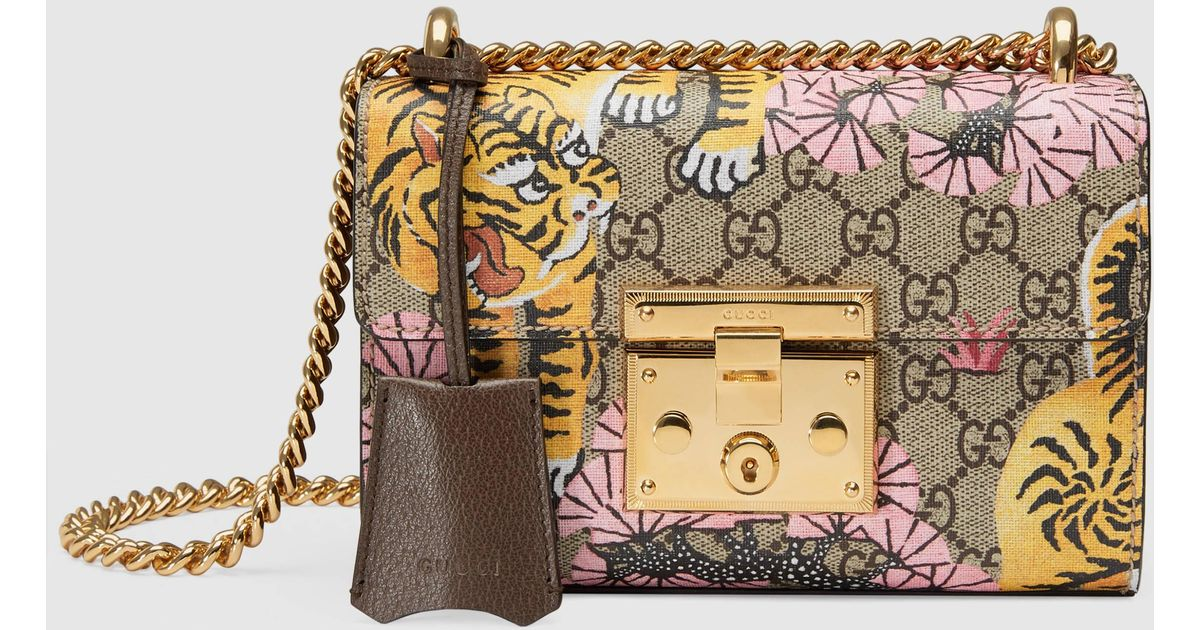 5734a0236c94 Gucci Padlock Bengal GG Supreme Canvas And Leather Shoulder Bag - Lyst