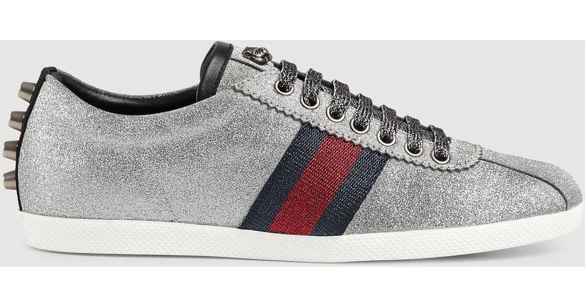 b7ef2f1fe984 Lyst - Gucci Glitter Web Sneaker With Studs in Metallic