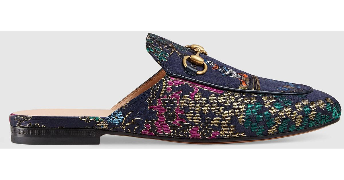 5a60229ee7f Lyst - Gucci Princetown Jacquard Slipper With Donald Duck in Blue
