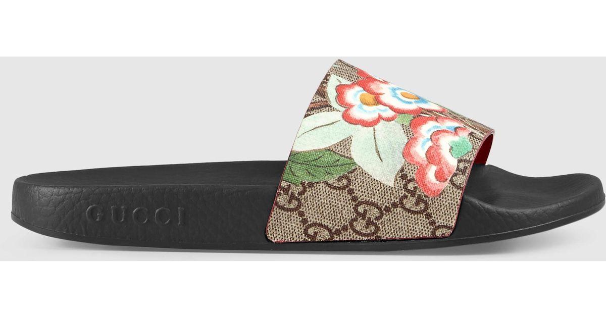 f3c1655422e Lyst - Gucci Tian Pursuit Canvas Slides