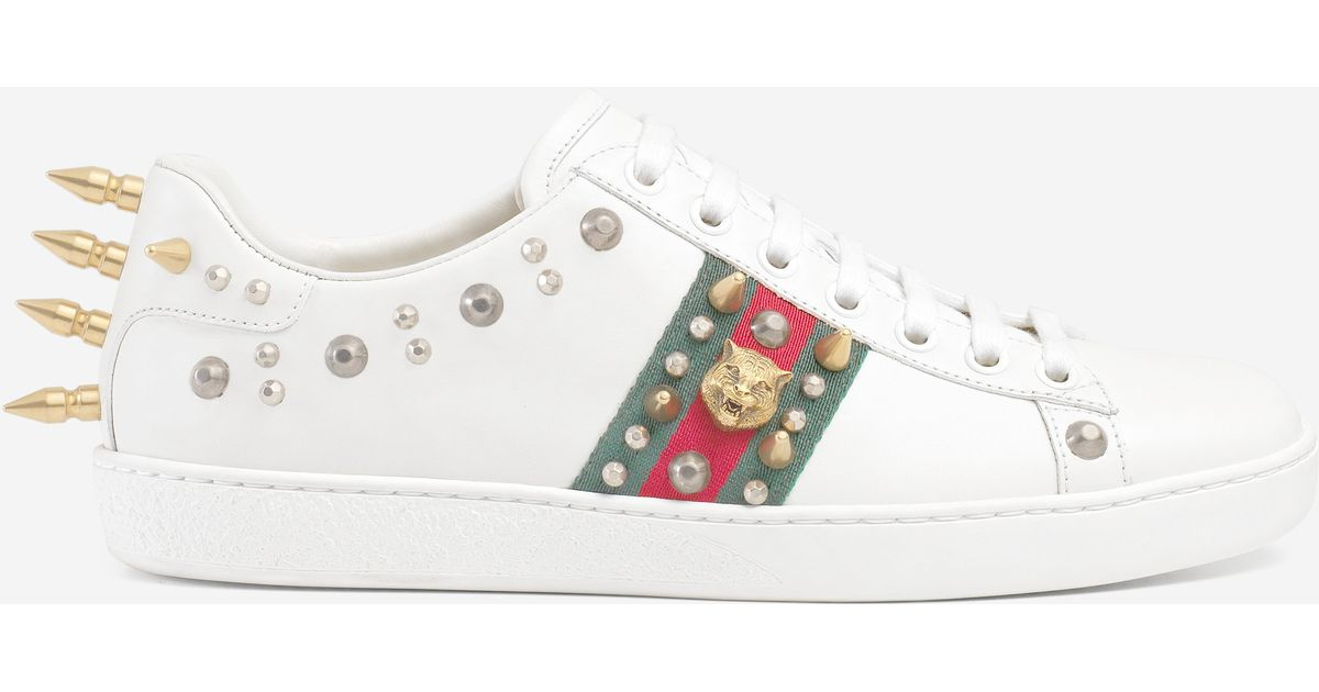 395ecac729239 Lyst - Gucci Ace Studded Leather Low-top Sneaker