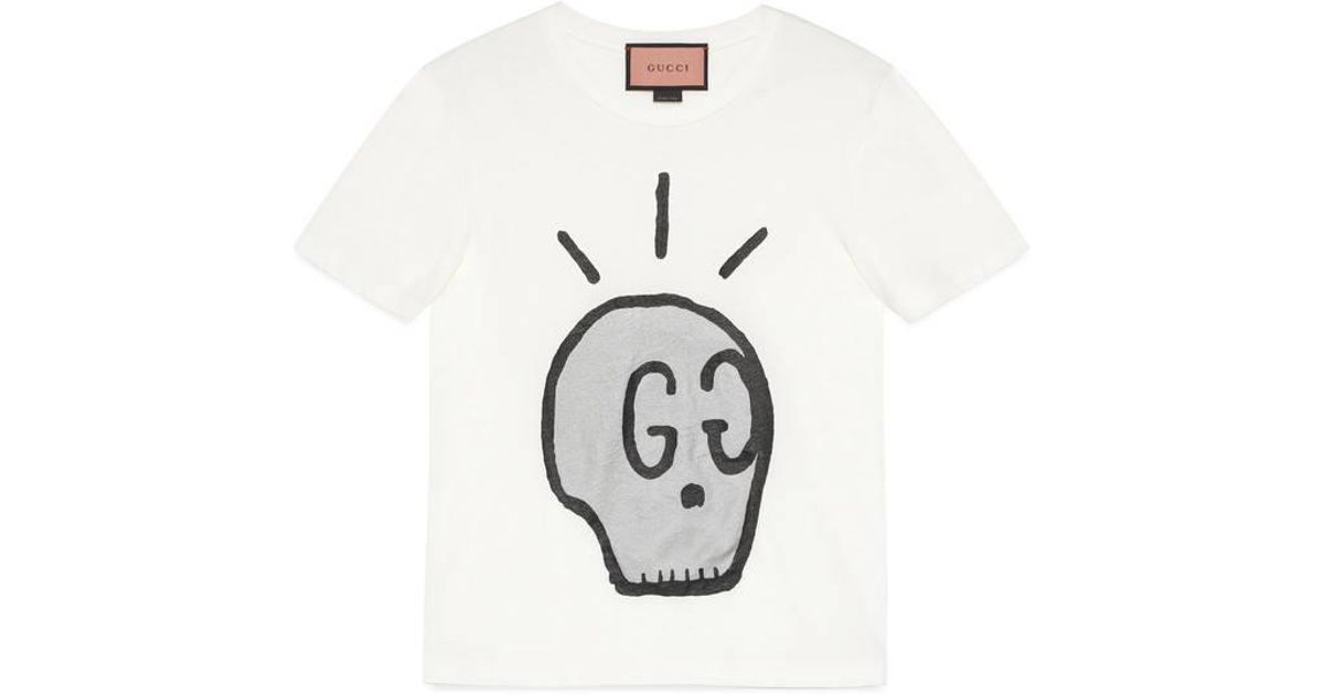 112ac4175f4 Lyst - Gucci Ghost T-shirt in White for Men