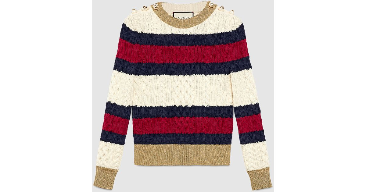 gucci striped wool knit top lyst