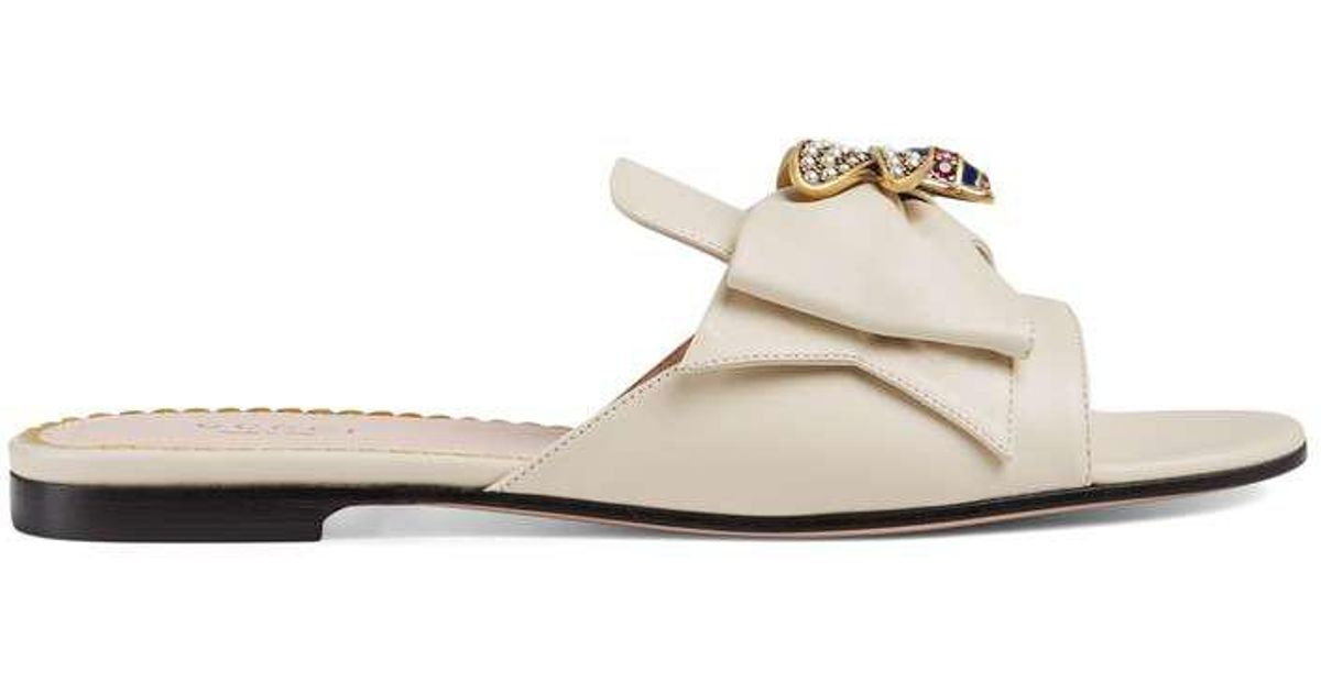 dca1806fe08c Lyst - Gucci Leather Slide With Bow in White