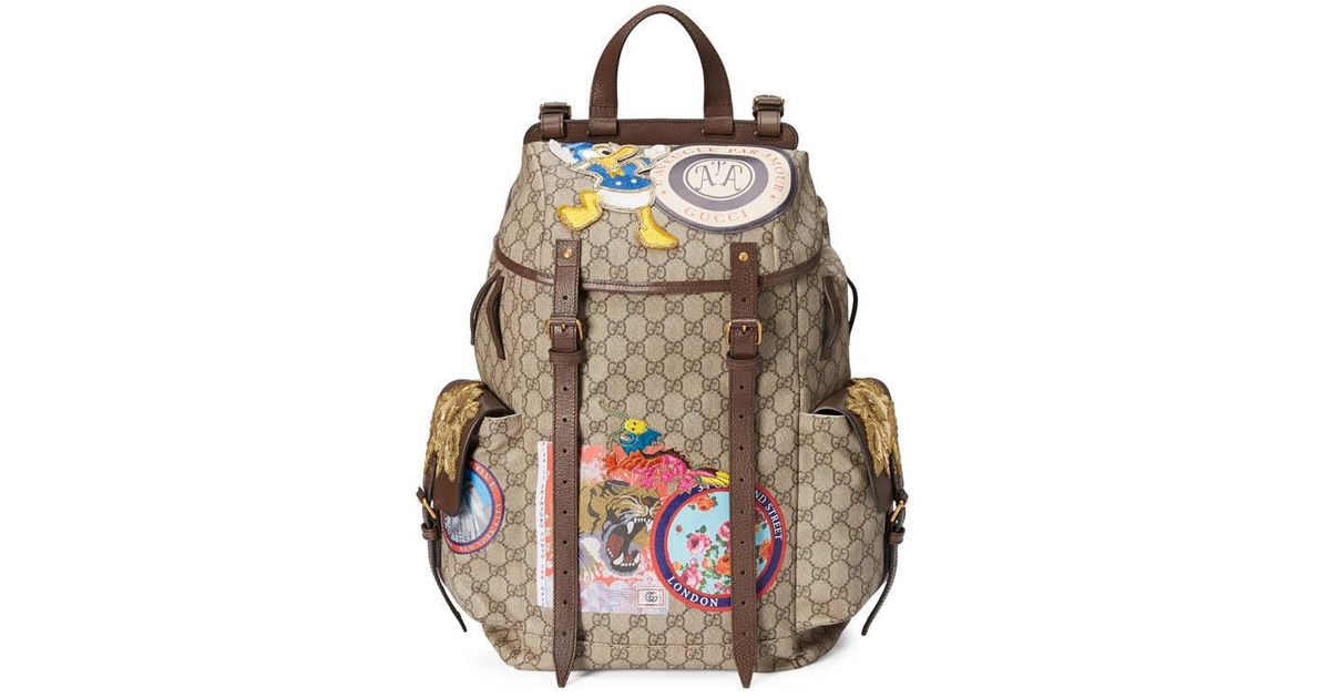 d12f9c0775b0 Gucci Soft Gg Supreme Backpack With Appliqués in Natural - Lyst