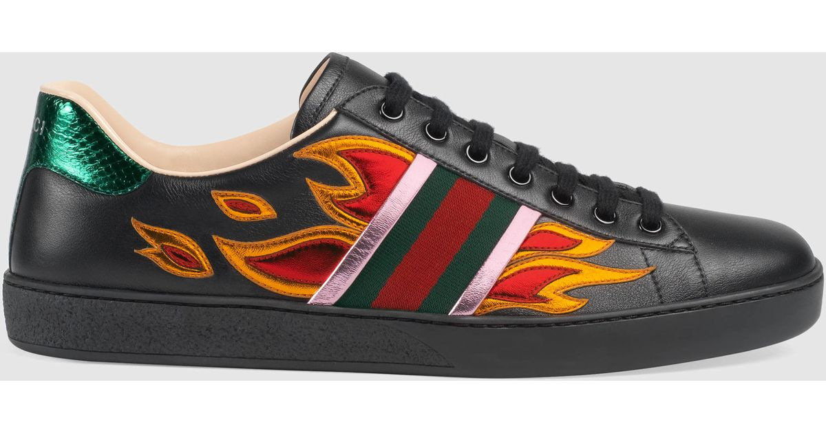 lyst gucci ace low top sneaker with flames for men. Black Bedroom Furniture Sets. Home Design Ideas