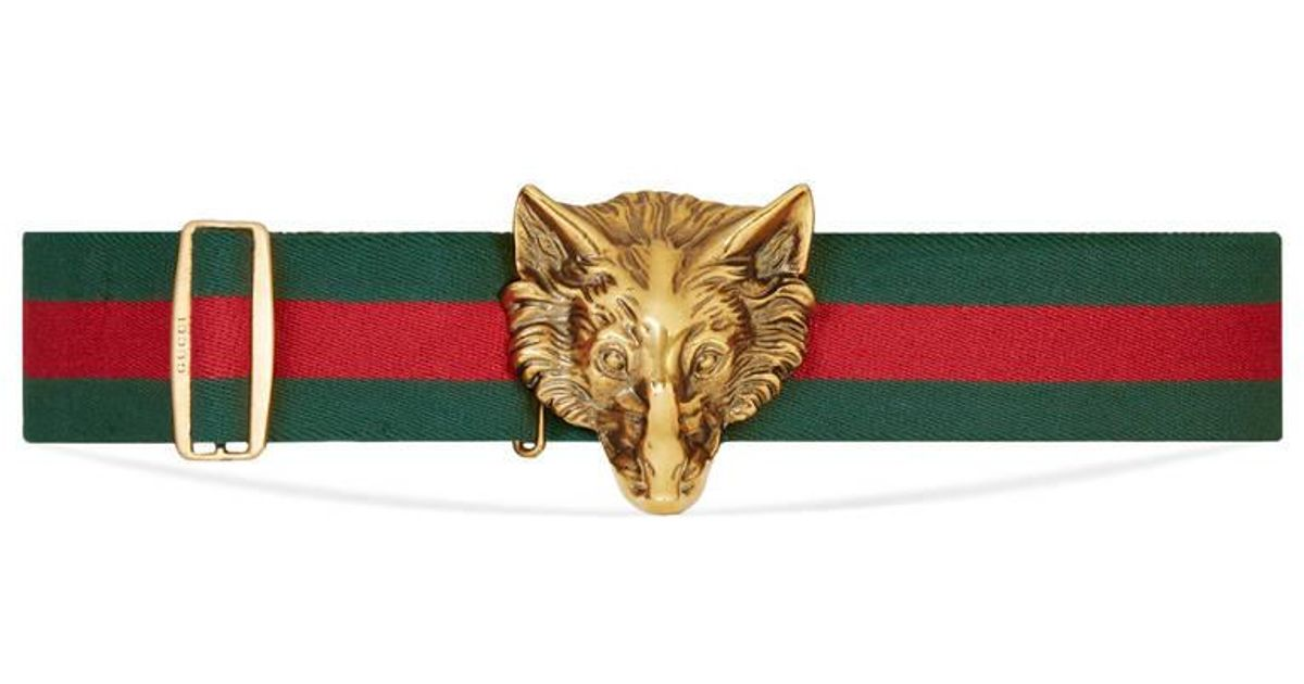 b4eb5e9c2 Gucci Elastic Belt With Wolf Buckle in Green for Men - Lyst