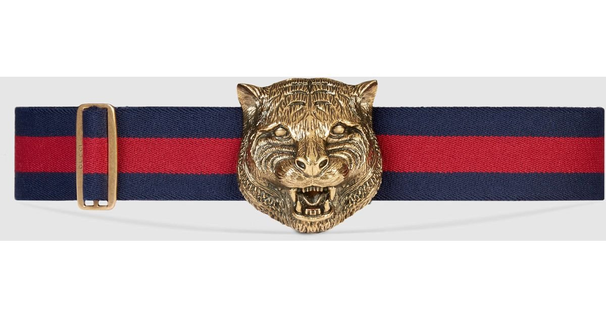 73e159e8e Gucci Elastic Belt With Feline Buckle in Blue for Men - Lyst