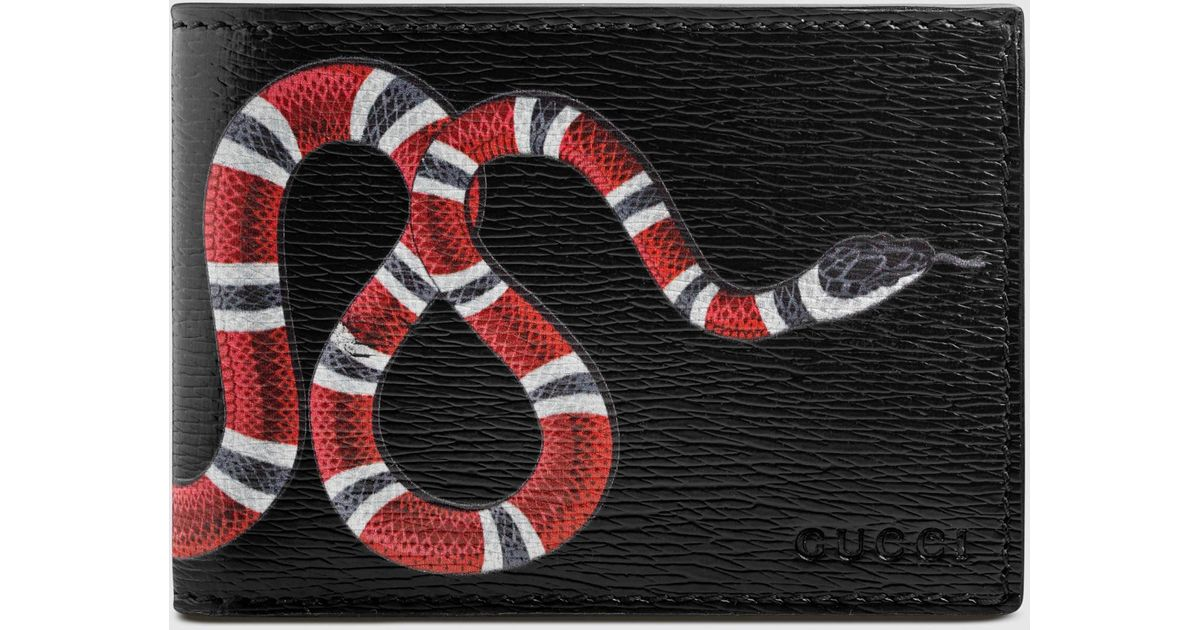 e572b402180 Gucci Snake Print Leather Wallet In Black For Men Lyst