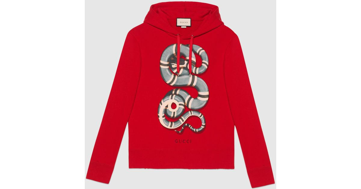 45c806cd2cd Lyst - Gucci Snake-print Cotton-jersey Hoody in Red for Men