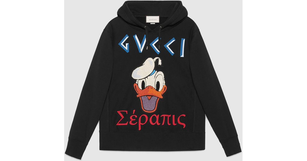 lyst gucci cotton sweatshirt with donald duck appliqu. Black Bedroom Furniture Sets. Home Design Ideas