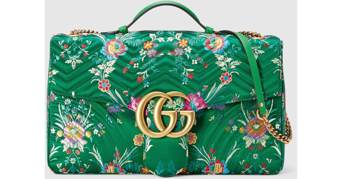 6f34e068a7010 Lyst - Gucci Gg Marmont Maxi Floral Jacquard Shoulder Bag in Green