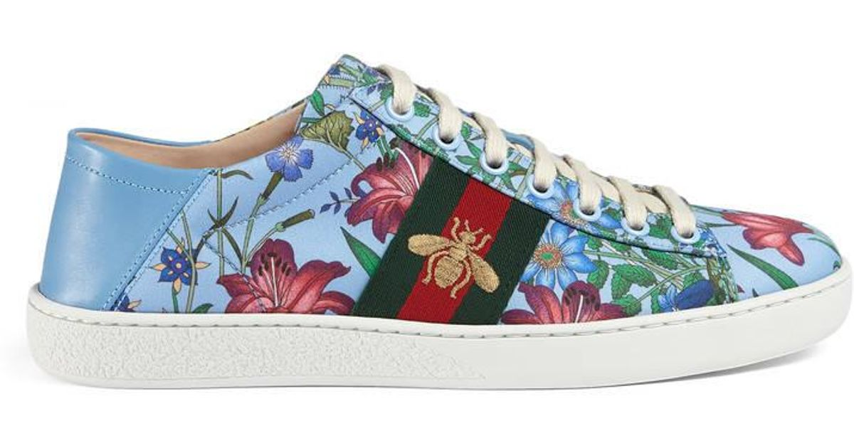 fabff8fb8d4 Lyst - Gucci Ace New Flora Print Low-top Sneaker in Blue