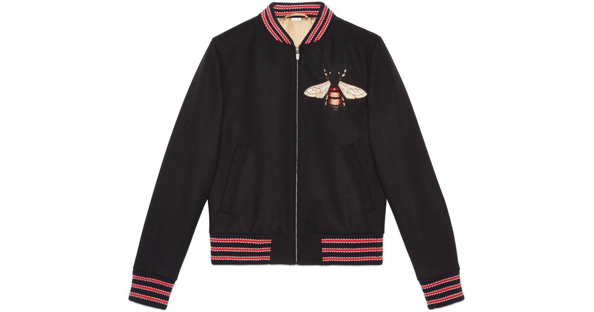 604e4c4fc8a947 Gucci Felt Jacket With Bee Patch in Black for Men - Save  3.3333333333333286% - Lyst