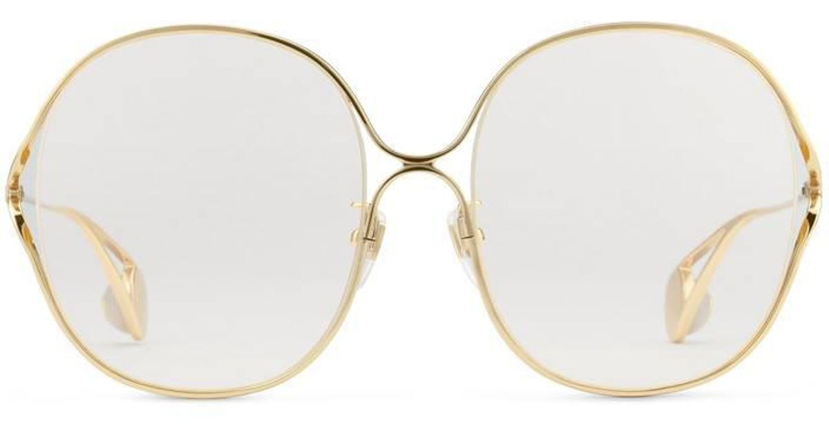 14b8c877466 Lyst - Gucci Round-frame Metal Glasses in Metallic