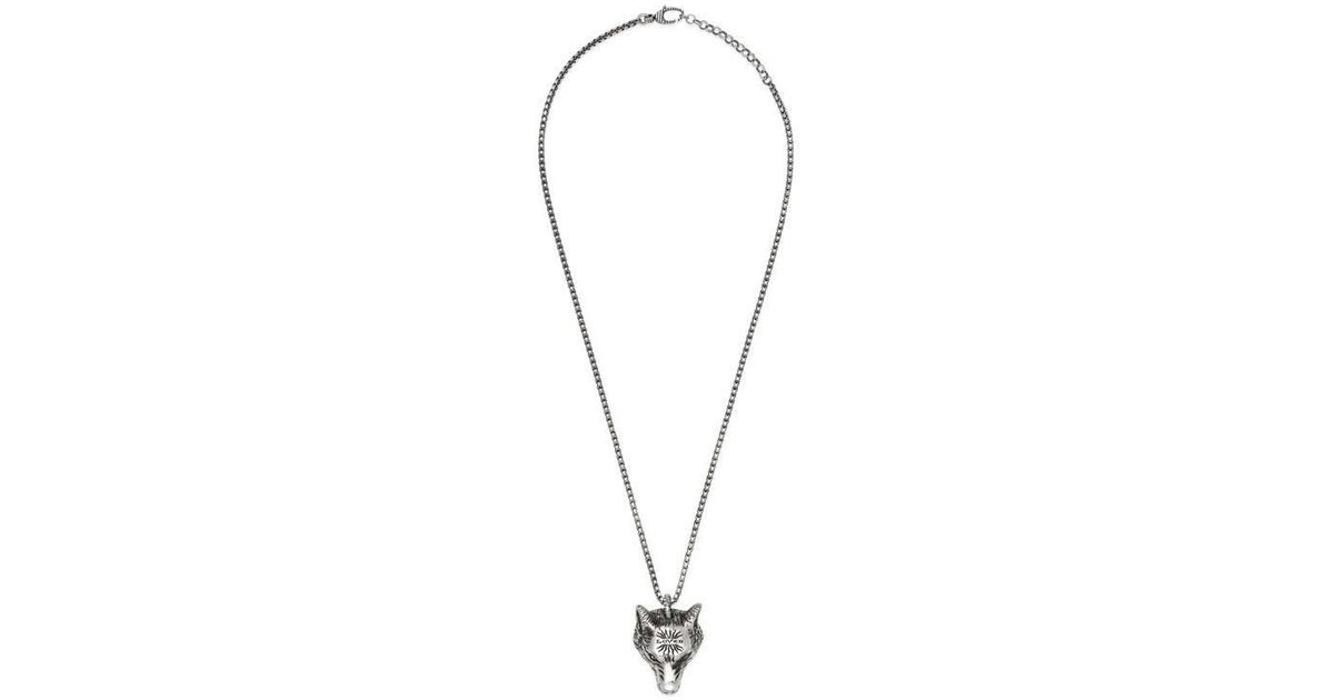 Gucci Anger Forest wolf head necklace in silver - Metallic 6h13TV