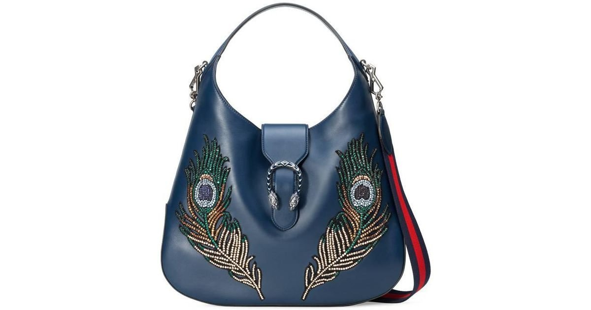 273b519726fd3a Gucci Dionysus Embroidered Large Leather Hobo in Blue - Lyst