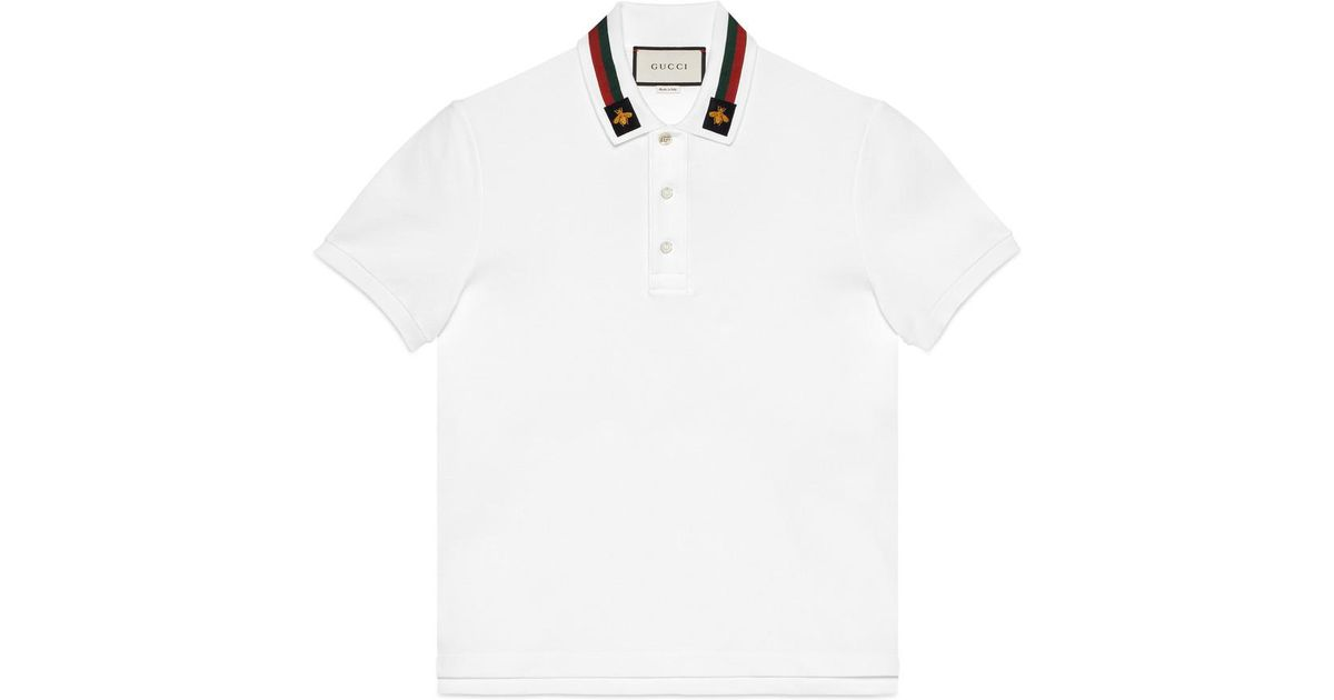 7c2d6118b33 Gucci Cotton Polo With Web And Bee in White for Men - Lyst