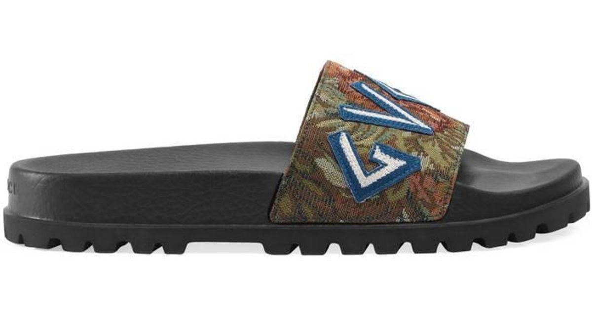 55a0c4d9ce0 Lyst - Gucci Floral Brocade Slide Sandal in Black for Men