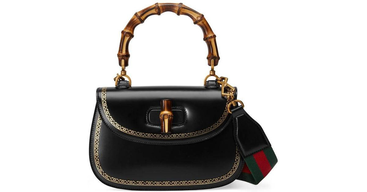 77e86033207 Lyst - Gucci Bamboo Frame Print Leather Top Handle Bag in Black