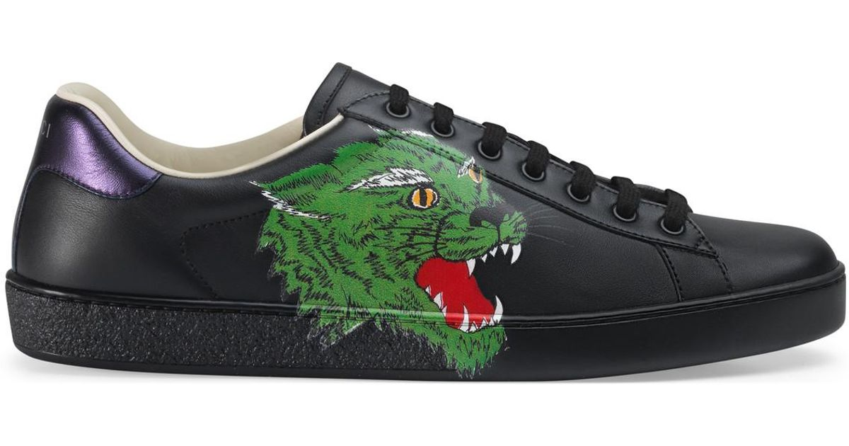 Gucci Ace Sneaker With Panther in Black
