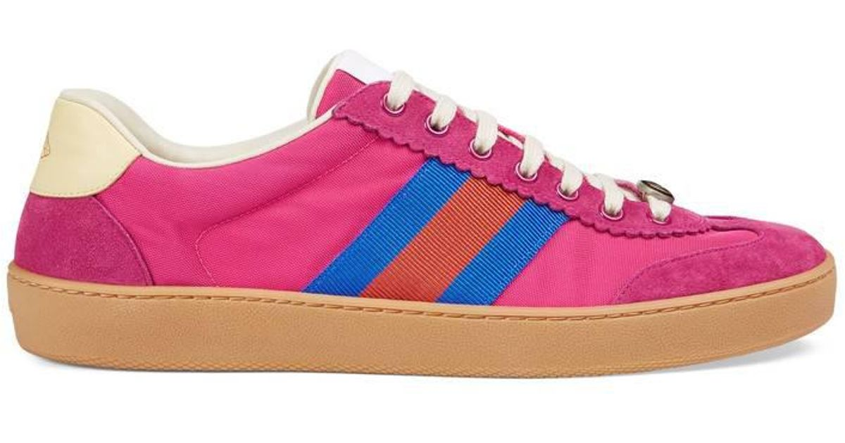 21e29e5b69c0 Lyst - Gucci G74 Nylon Sneaker With Web in Pink for Men