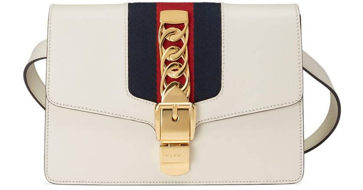 ef19b22324a Lyst - Gucci Sylvie Leather Belt Bag in White