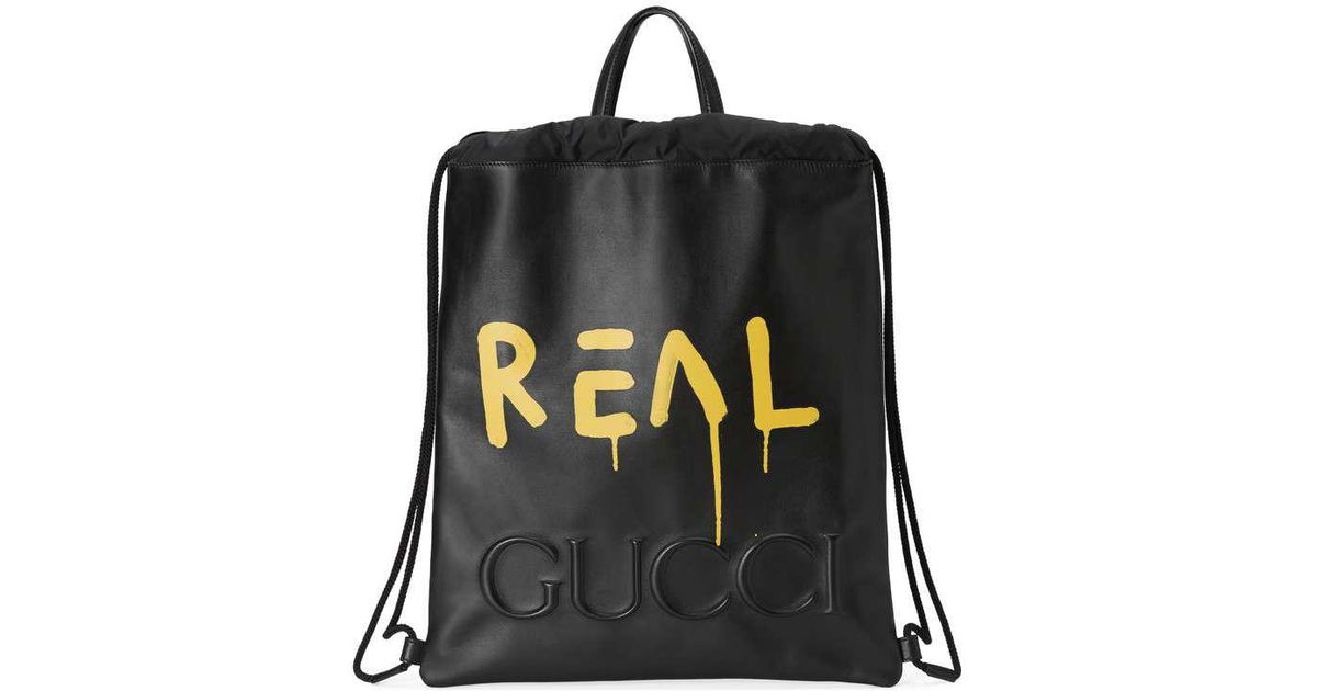 Lyst - Gucci Ghost Drawstring Backpack in Black for Men bb564d2b6f34c