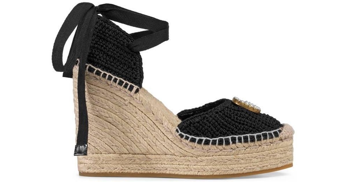b8e39a19b0c Gucci Black Crochet Wedge Espadrilles