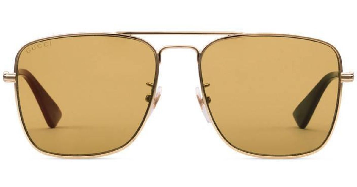 fbc3a3b8a0b Lyst - Gucci Metal Square-frame Sunglasses in Brown for Men