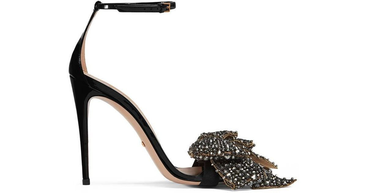 1f279e3a30251 Gucci Patent Leather Sandal With Removable Crystal Bow in Black - Lyst