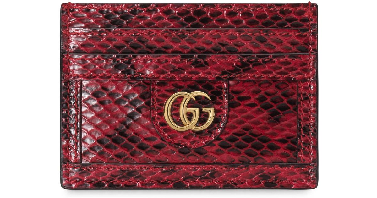9712d04007 Gucci - Red Ophidia Snakeskin Card Case - Lyst