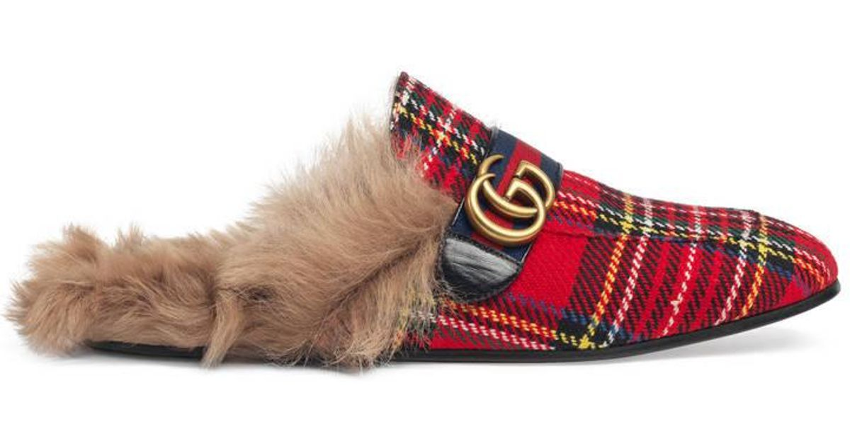 d1e018502 Gucci Princetown Tartan Slippers With Double G in Red for Men - Lyst