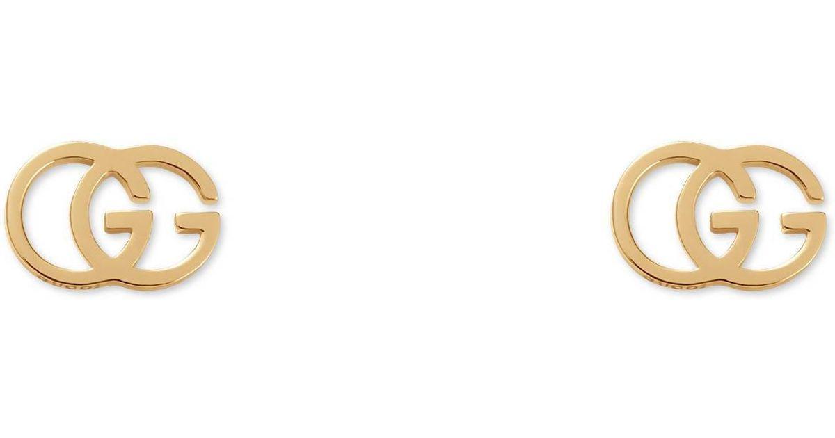 c602caf82 Boucles d'oreilles avec clous et tissu GG Gucci en coloris Métallisé - 8 %  de réduction - Lyst