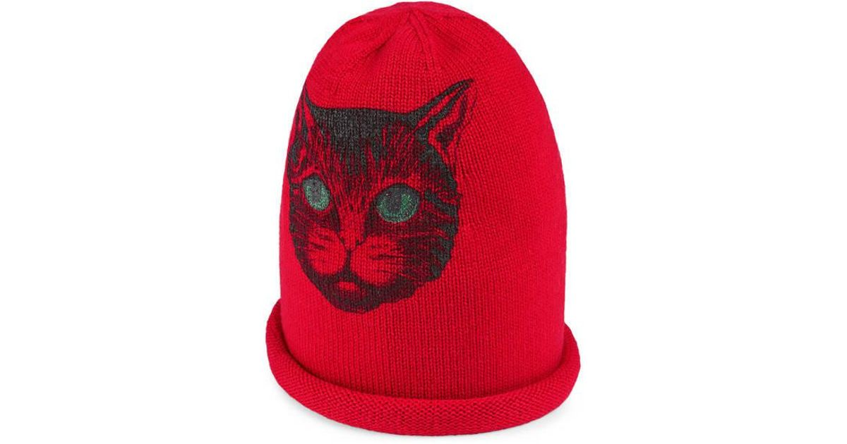 4815d5b6b1c Lyst - Gucci Wool Hat With Mystic Cat in Red