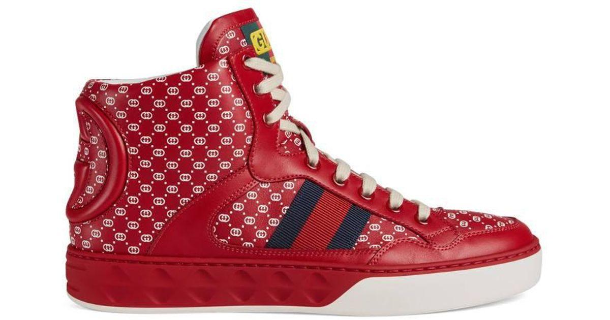 dapper Dan Sneaker in Red gg Leather