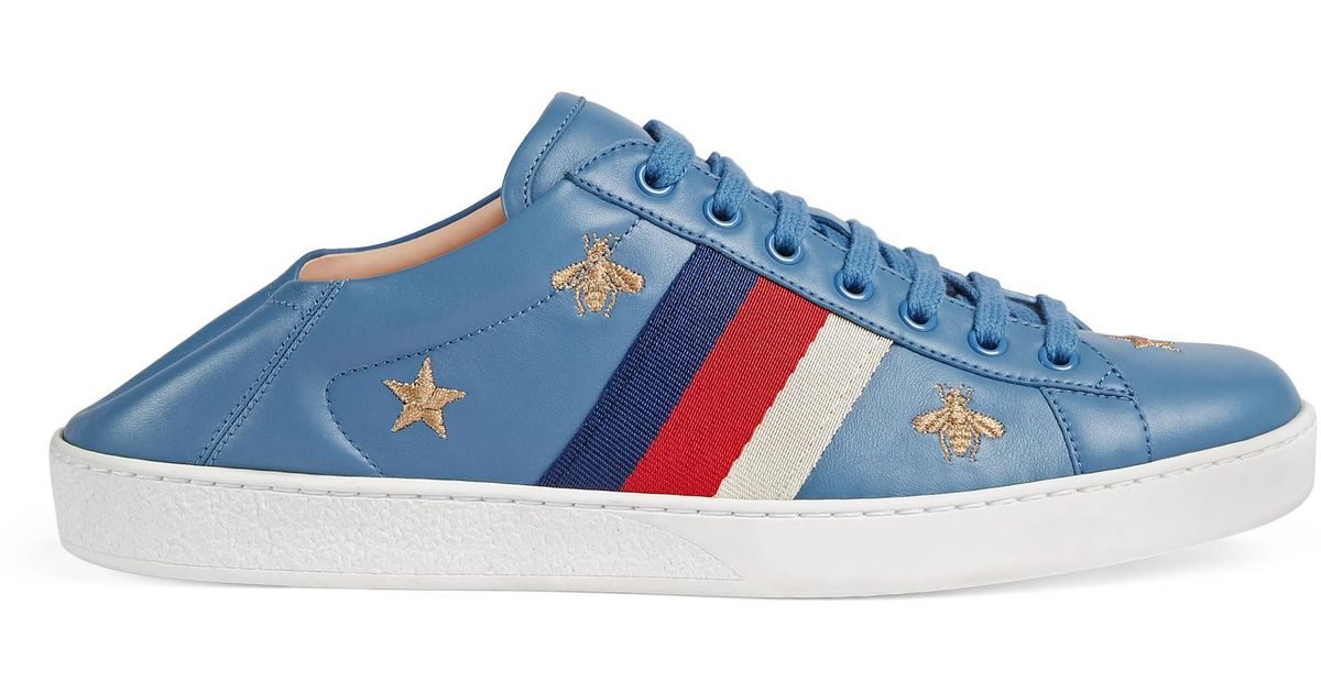 Gucci Leather Ace Sneaker With Bees And