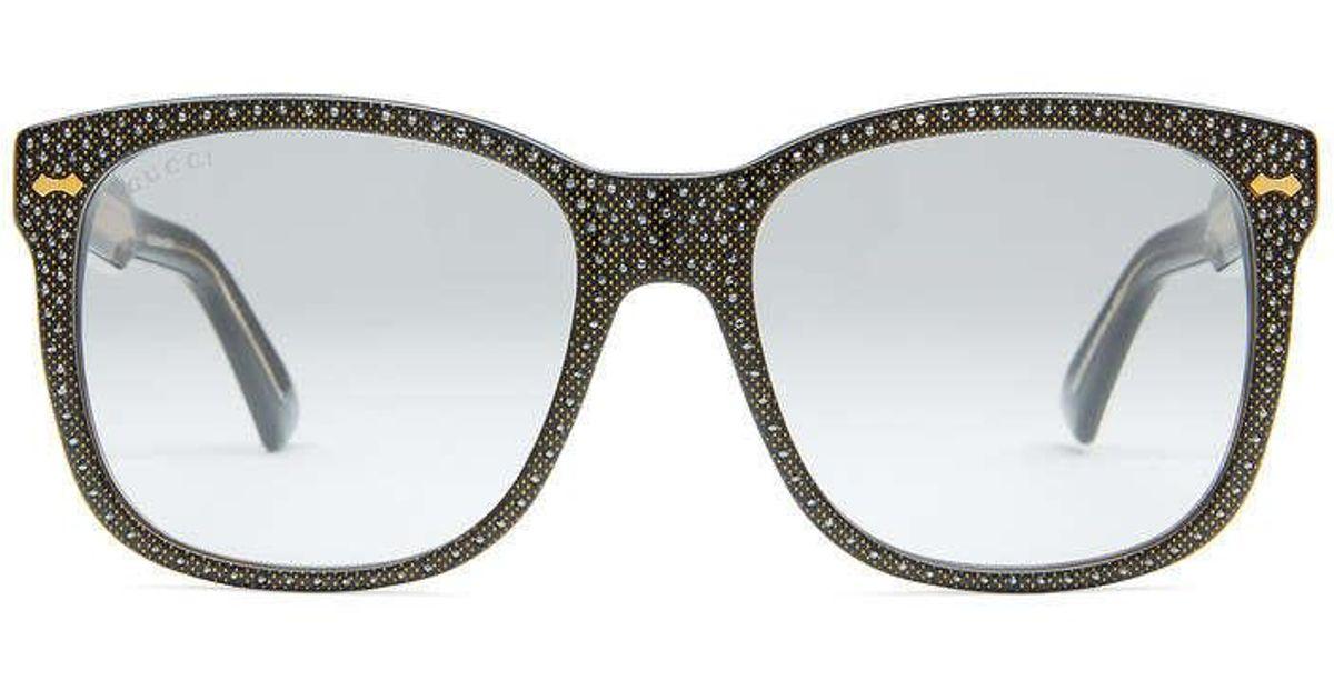 9c9dbb69c1115 Gucci Square-frame Rhinestone Glasses in Black - Lyst