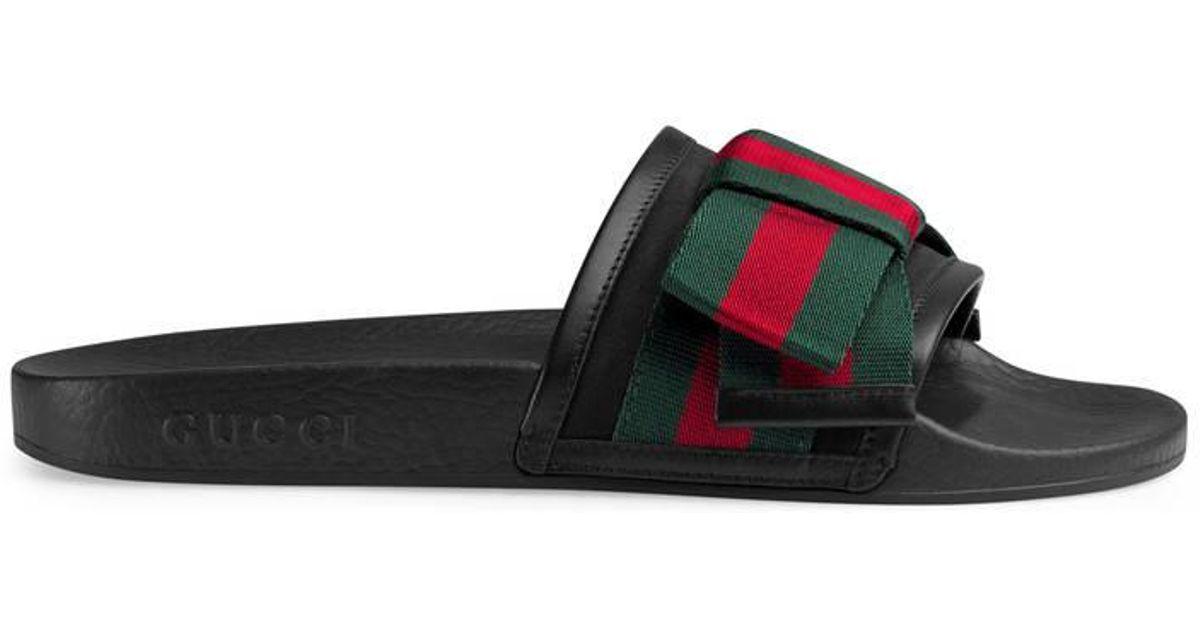 Satin Web Bow Slip-On Sandals Gucci t4UFhElFk