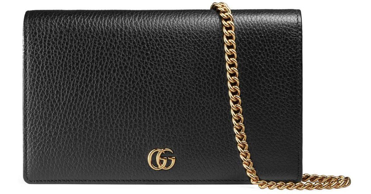 f9d6c7b4b70c Gucci GG Marmont Leather Mini Chain Bag in Black - Lyst