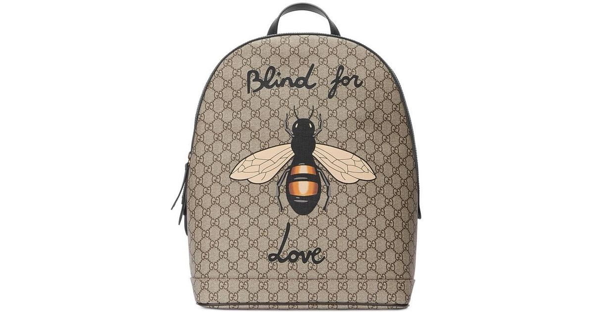 0fd8a06034ef Gucci Bee Print Gg Supreme Backpack in Brown for Men - Lyst