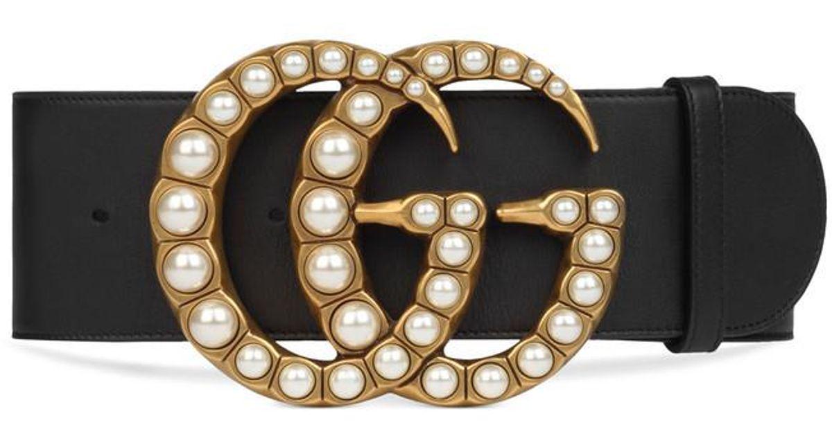 Lyst - Large ceinture en cuir avec boucle Double G nacrée Gucci en coloris  Noir 477a0394608