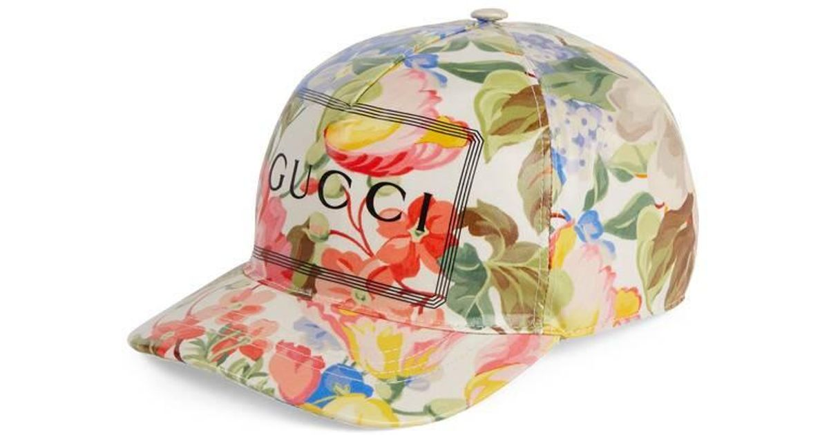 ff4c4c021 Gucci Natural - Baseball Hat With Floral Print for men