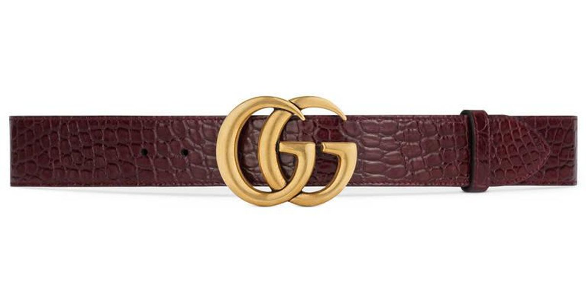 8016d221f34 Gucci Crocodile Belt With Double G Buckle in Brown for Men - Lyst