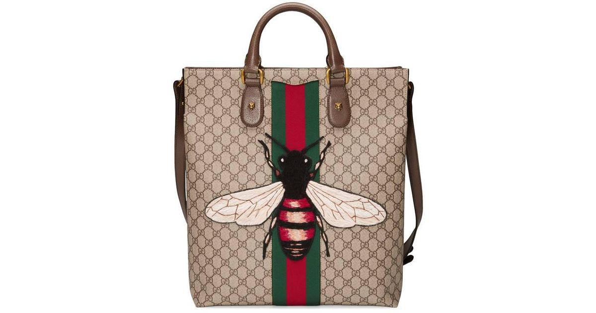 34b0d4f2d904 Gucci Web Animalier Gg Supreme Tote With Bee in Natural - Lyst