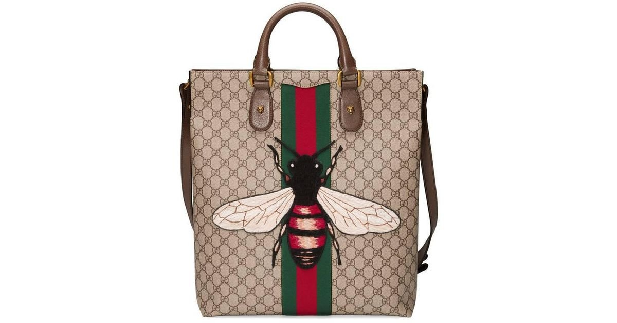 0608434c902024 Gucci Web Animalier Gg Supreme Tote With Bee in Natural - Lyst