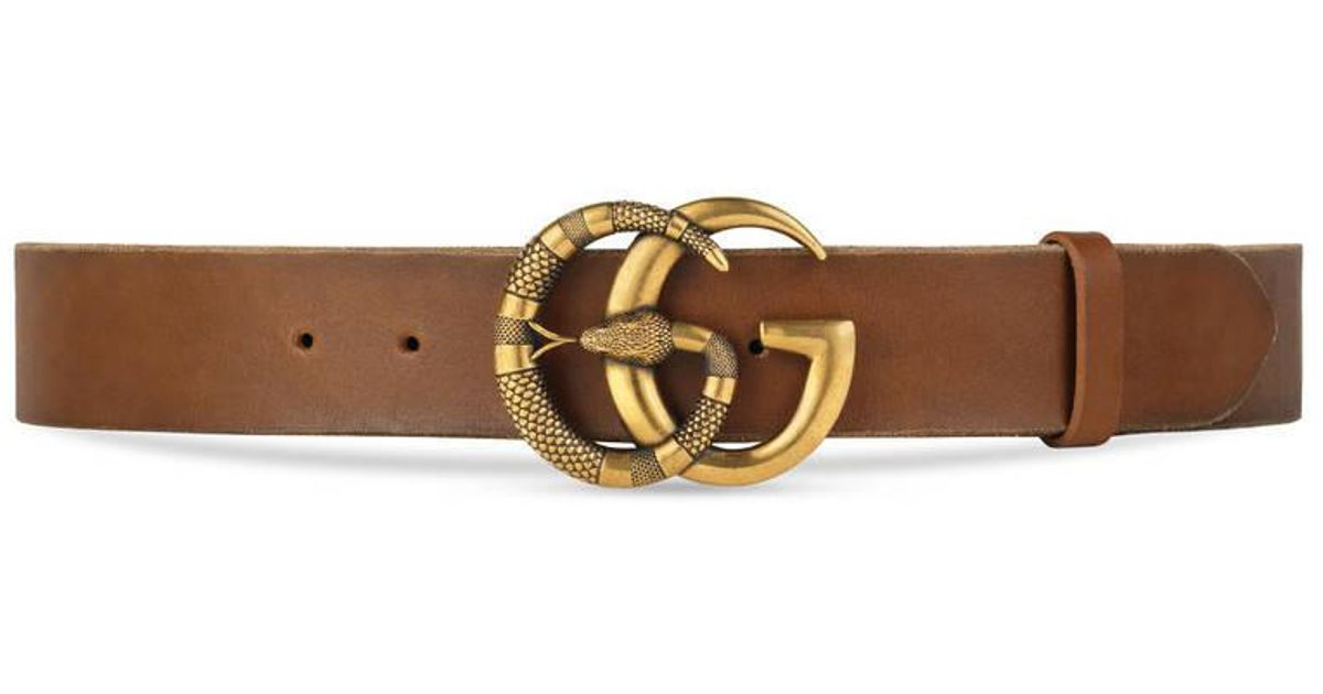 73d9f2b9864 Gucci Leather Belt With Double G Buckle With Snake in Brown for Men - Lyst